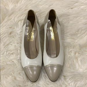 Salvatore Ferragamo Vintage Cream and Tan Heels